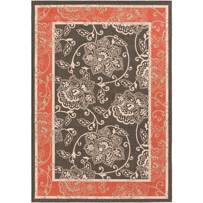 Surya ALF-9592 Alfresco Indoor/Outdoor Area Rug in Black/Rust