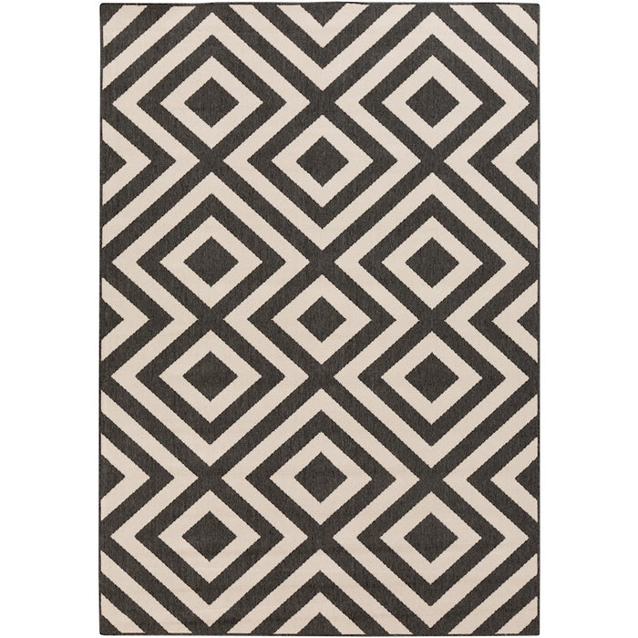Surya ALF-9639 Alfresco Indoor/Outdoor Area Rug in Black/Cream