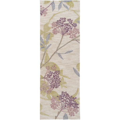 Surya AME-2224 Amelia Runner, 2'6' x 7'6', Dark Purple/Mauve