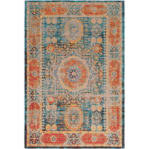 Surya AMS-1009 Amsterdam Area Rug in Bright Blue/Saffron