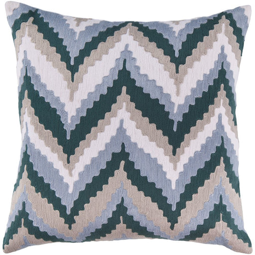 Ikat Chevron by Surya Down Pillow, Navy/Sky Blue/Tan