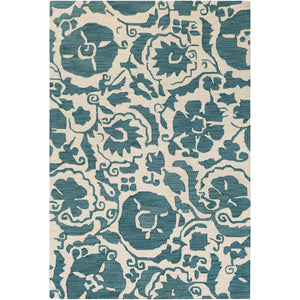 Surya ARM-1009 Armelle Area Rug in Teal/Cream
