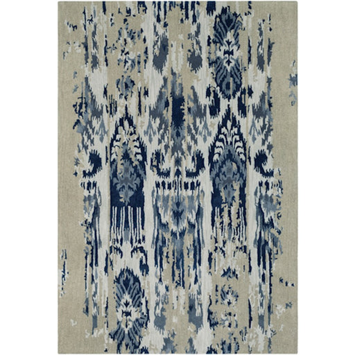 Surya ART-242 Artist Studio Runner, 2' 6' x 8', Medium Gray/Navy