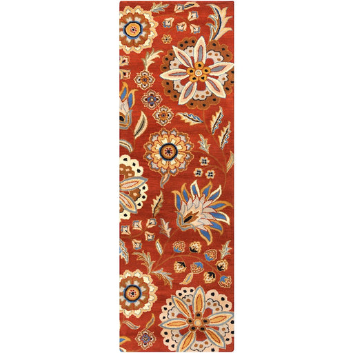 Surya ATH-5126 Athena Runner, 2'6' x 8', Burnt Orange/Wheat