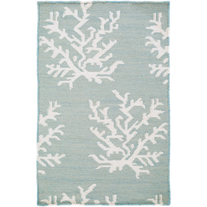 Surya Boardwalk Area Rug, Aqua/White