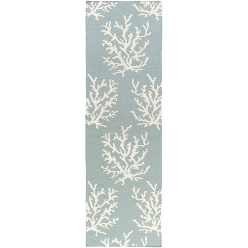 Surya BDW-4010 Boardwalk Runner, 2'6' x 8', Aqua/White