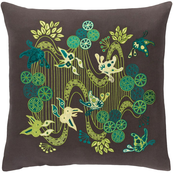 Chinese River by E. Gardner Down Pillow, Black/Lime/Teal