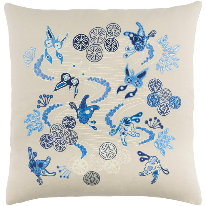 Chinese River by E. Gardner Down Pillow, Khaki/Cream/Navy
