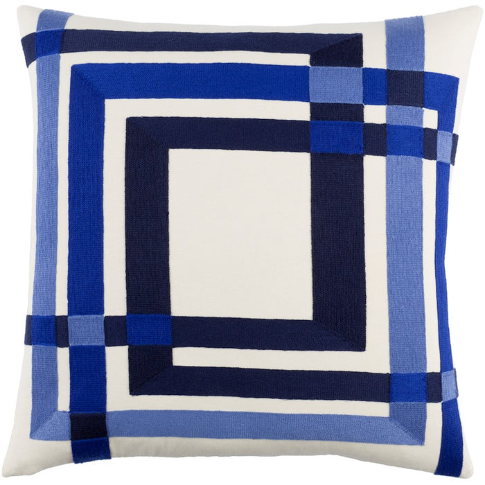 Color Form by E. Gardner Down Pillow, Cream/Navy/Violet