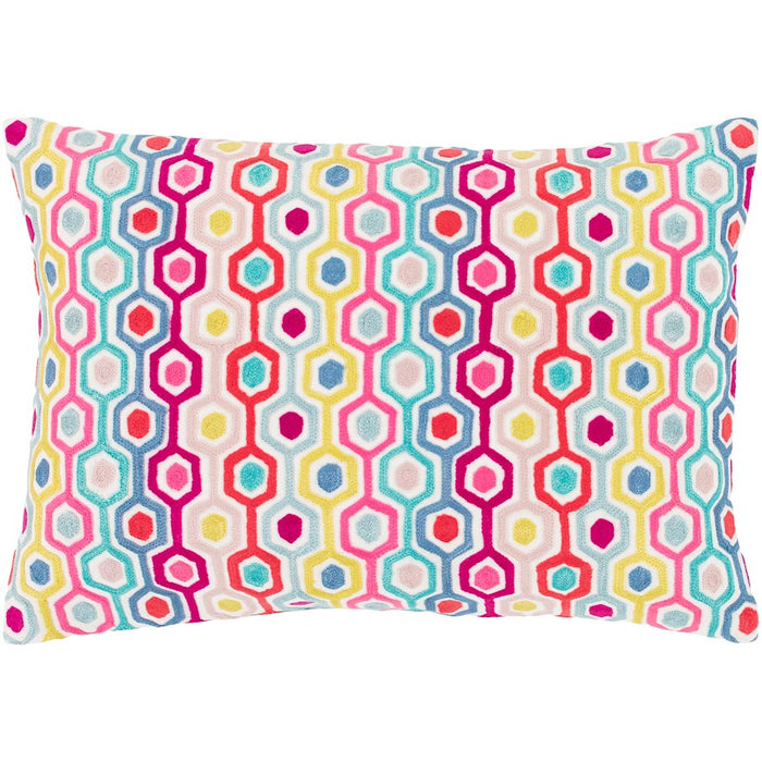 "Candescent by Surya Down Pillow, White/Coral/Pink, 19"" x 13"""