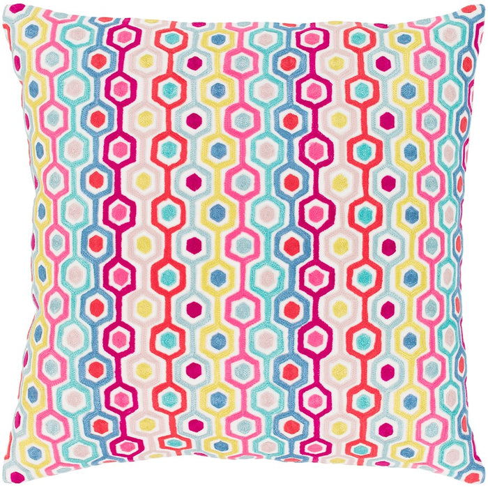 Candescent by Surya Down Pillow, White/Coral/Pink