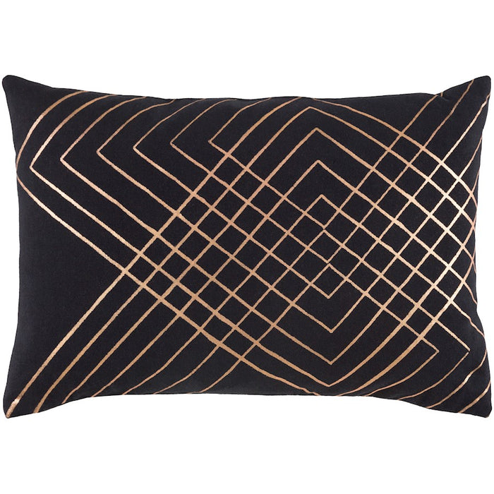 "Crescent by Surya Lumbar Down Pillow, Black/Champagne, 13"" x 19"""