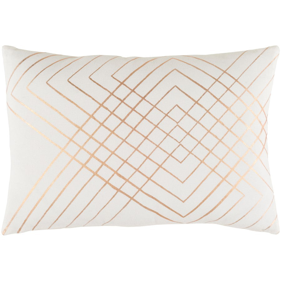 "Crescent by Surya Lumbar Down Pillow, Cream/Copper, 13"" x 19"""