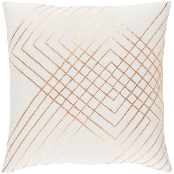 "Crescent by Surya Pillow, Cream/Copper, 18"" Square"