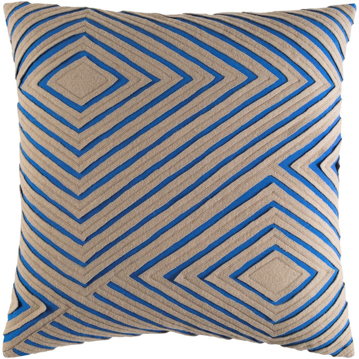 Denmark by Surya Pillow, Bright Blue/Camel