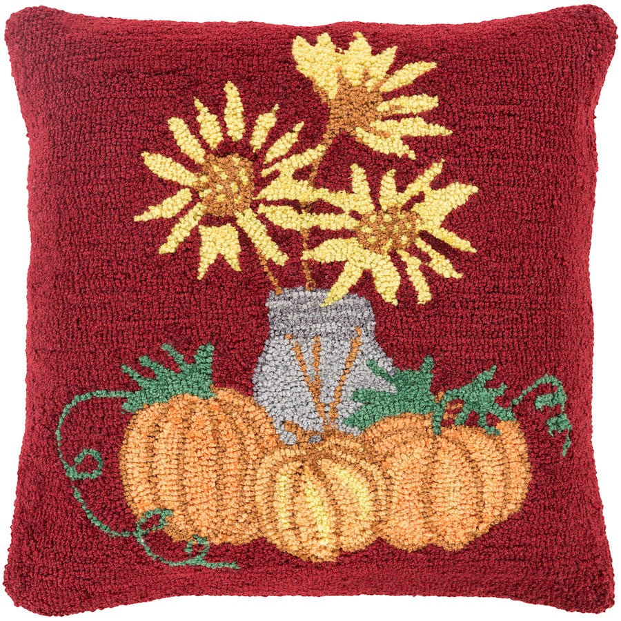 "Fall Harvest by Surya Pillow, Dark Red/Saffron/Orange, 18""x18"""