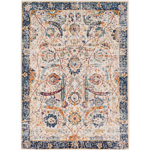 Surya HAP-1014 Harput Runner, 2' 7' x 7' 3', Dark Blue/Burnt Orange