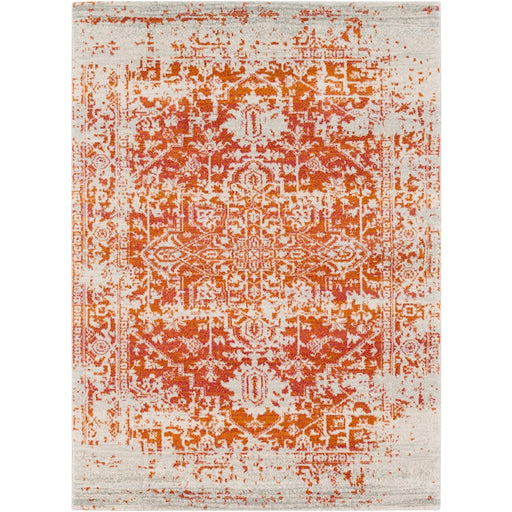 Surya HAP-1019 Harput Runner, 2' 7' x 7' 3', Light Gray/Burnt Orange
