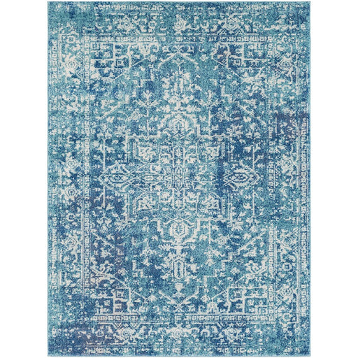Surya HAP-1023 Harput Runner, 2' 7' x 7' 3', Teal/Dark Blue
