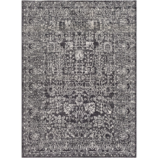Surya HAP-1028 Harput Runner, 2' 7' x 7' 3', Black/Light Gray