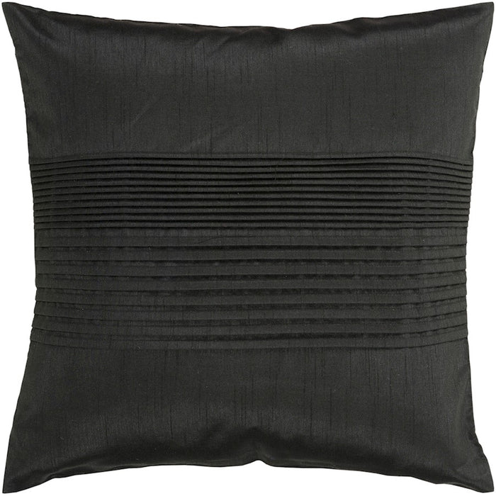 Solid Pleated by Surya Down Fill Pillow, Black
