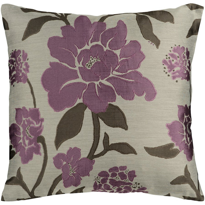 Blossom by Surya Pillow, Taupe/Purple/Black