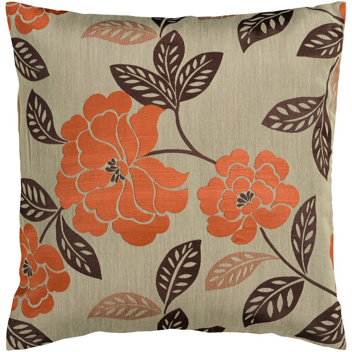 Blossom by Surya Pillow, Tan/Orange/Dark Brown