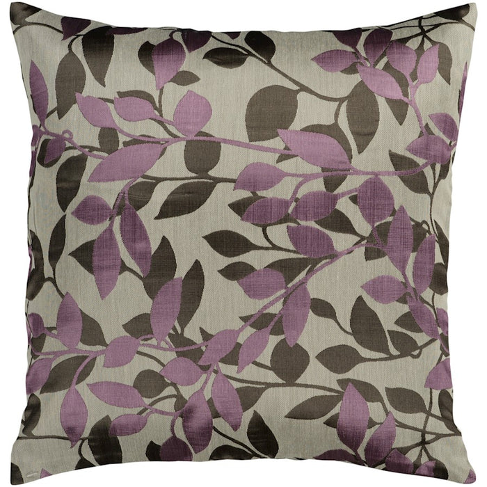 Wind Chime by Surya Pillow, Taupe/Purple/Black