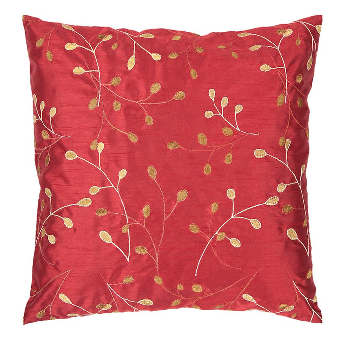 Blossom by Surya Pillow, Red/Camel/Cream