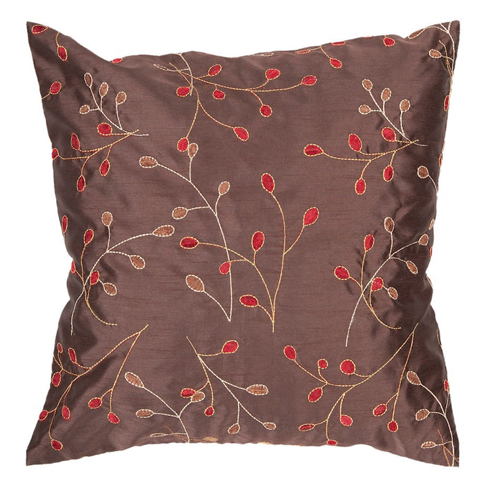 Blossom by Surya Pillow, Dark Brown/Red/Camel