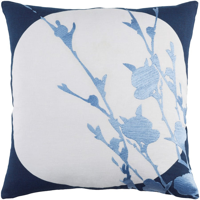 Harvest Moon by E. Gardner Pillow, Navy/Pale Blue/Blue