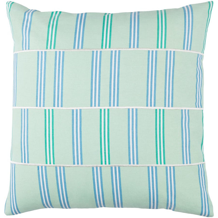 Lina by Surya Down Fill Pillow, Mint/White/Sky Blue
