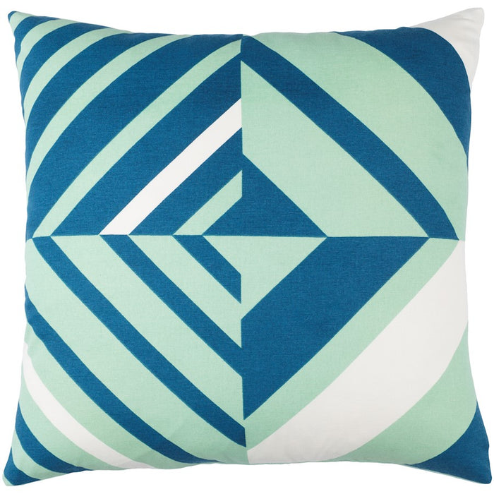 Lina by Surya Down Fill Pillow, Mint/Dark Blue/White
