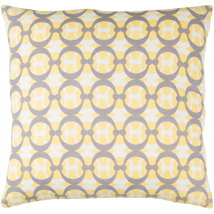 Lina by Surya Pillow, Butter/Gray/White