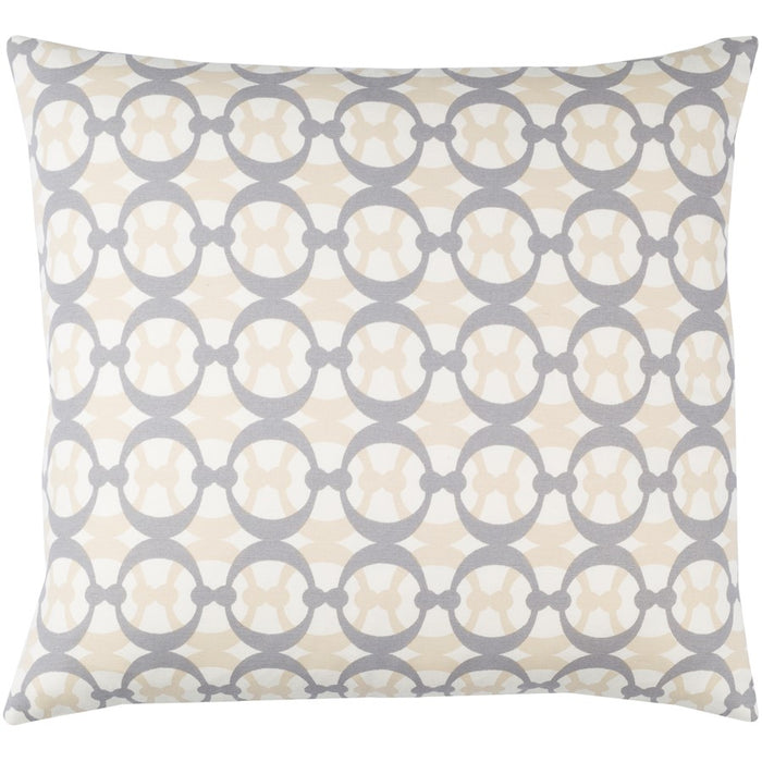 Lina by Surya Pillow, White/Gray/Beige