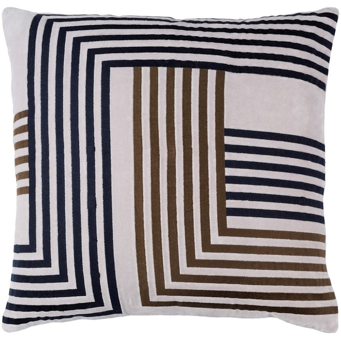 Intermezzo by Surya Pillow, Light Gray/Dark Brown/Navy