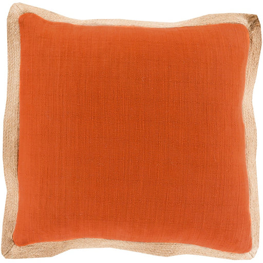 Jute Flange by Surya Pillow, Orange/Camel