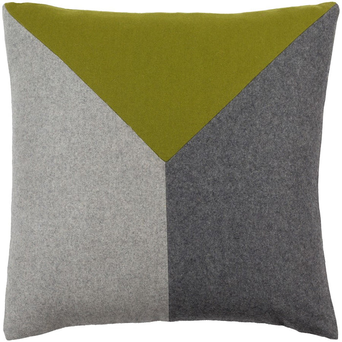 Jonah by Surya Down Fill Pillow, Olive/Black/Light Gray