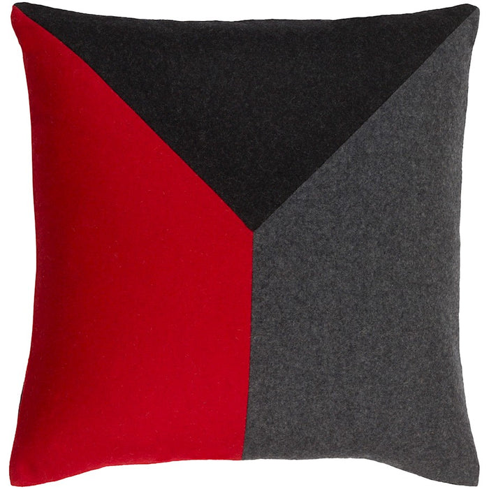 Jonah by Surya Down Fill Pillow, Bright Red/Black