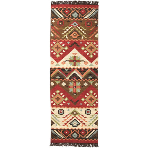 Surya JT-8 Jewel Tone Runner, 2'6' x 8', Khaki/Dark Red