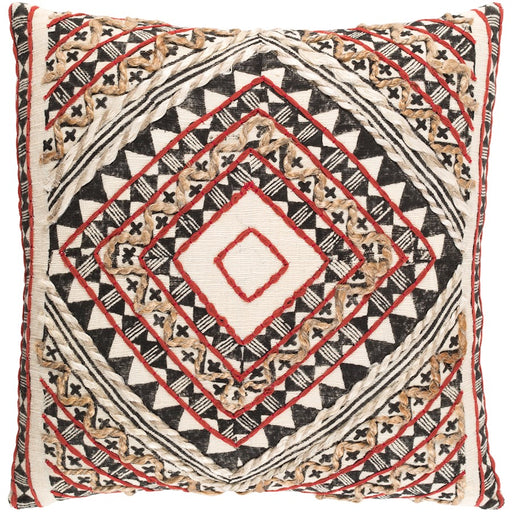 Kazinga by Surya Down Fill Pillow, Rust/Camel/Black