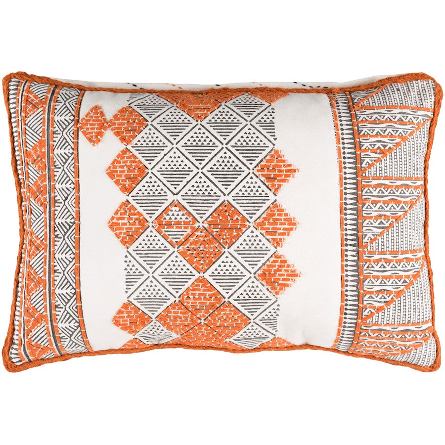 "Kerio by Surya Pillow, Orange/Dark Brown/White, 13"" x 19"""
