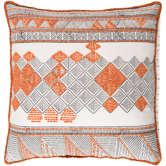 Kerio by Surya Pillow, Orange/Dark Brown/White