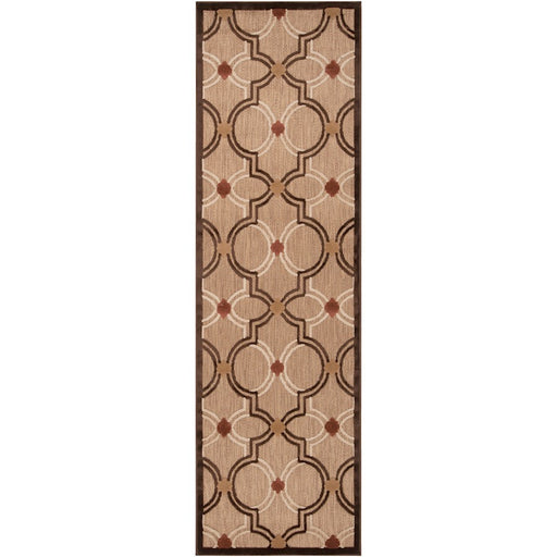 Surya PRT-1049 Portera Indoor/Outdoor Runner, 2'6' x 7'10', Khaki/Dark Brown