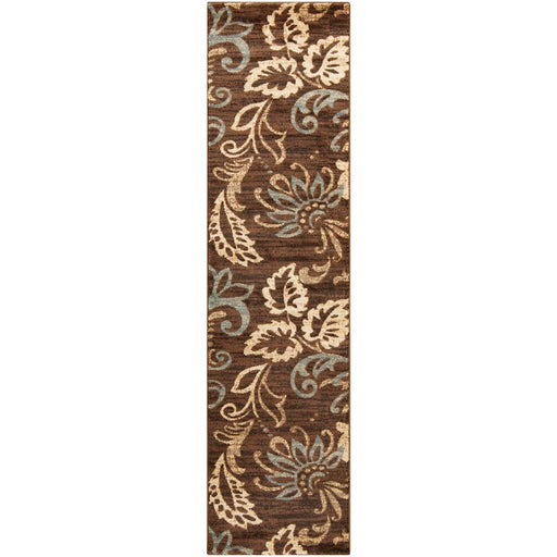 Surya RLY-5022 Riley Runner, 3' x 8', Dark Brown/Cream