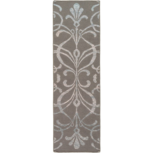 Surya SLM-1029 Stallman Runner, 9' x 13', Dark Brown/Sea Foam