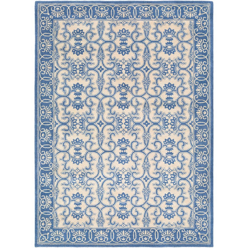 Surya SMI-2157 Smithsonian Runner, 2'6' x 8', Bright Blue/Khaki