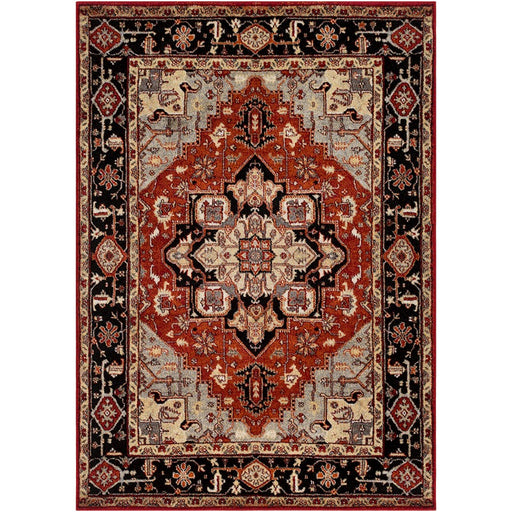 Surya SRP-1008 Serapi Runner, 2'7' x 7'3', Medium Gray/Dark Red