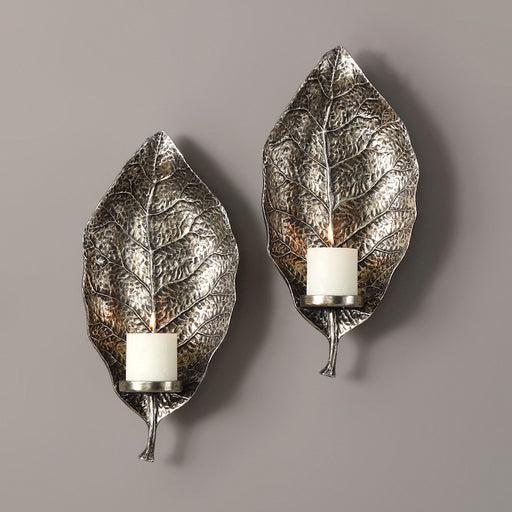 Uttermost Zelkova Leaf Candle Wall Sconces, Set of 2 - 04138