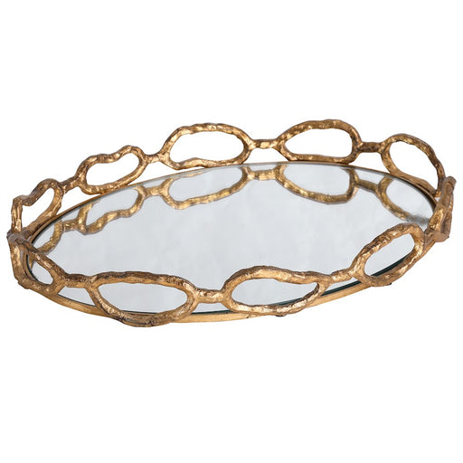 Uttermost Cable Chain Mirrored Tray, Gold Leaf - 17837